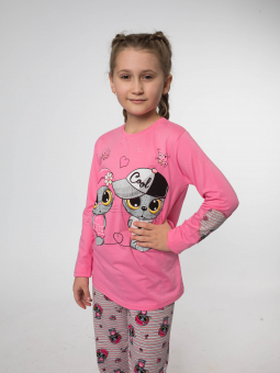 Піжама для дівчинки (рожевий реглан і штани з принтом)